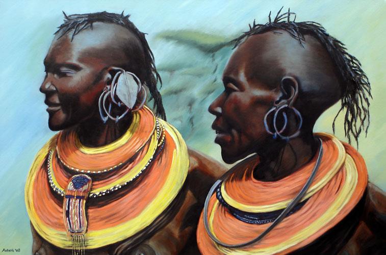 Twee trotse vrouwen, 2008 - olieverf op katoen, 120 x 80