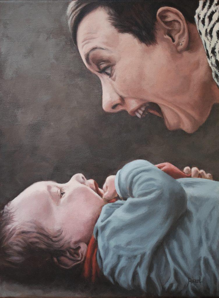 Willemijn en Max, mei 2016 - acryl op katoen, 40 x 30