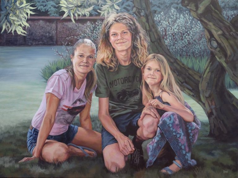 Kinderen - december 2017 - acryl op katoen, 120 x 90 (verkocht)
