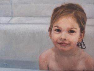 Sam in bad - 2021 - Olie op linnen, 30 x 40 (ntk)
